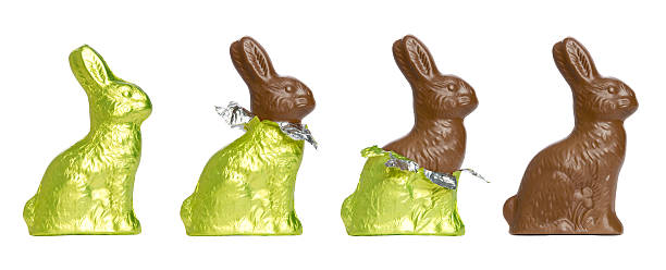 chocolate easter rabbits - easter bunny stock photos and pictures