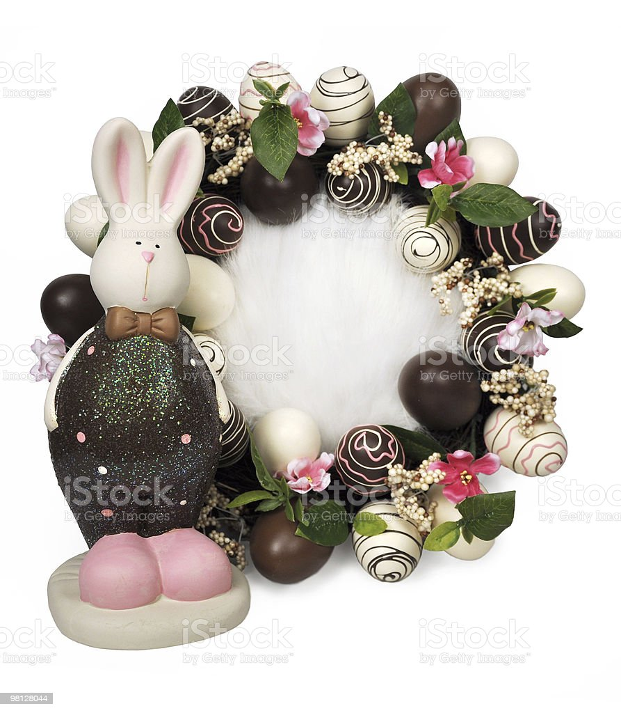 Chocolate Easter Wreath and Bunny royalty-free stock photo