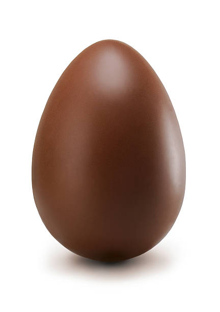 Chocolate egg on white background stock photo