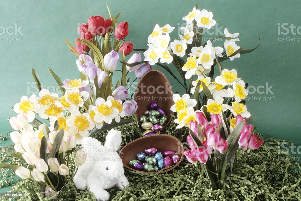 Chocolate egg with flowers and bunny royalty-free stock photo