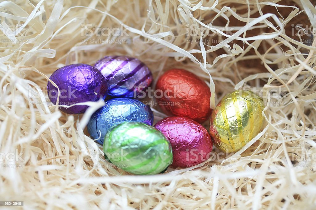 Chocolate eggs in a nest royalty-free stock photo