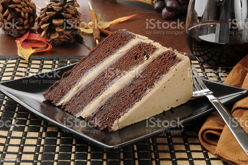 Chocolate expresso cake with red wine royalty-free stock photo