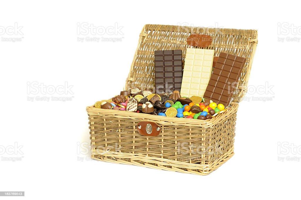Chocolate filled basket royalty-free stock photo