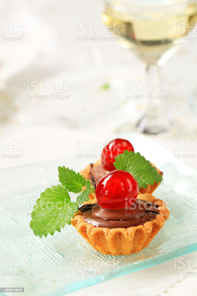 Chocolate filled tartlets royalty-free stock photo
