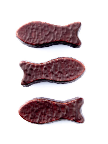 Chocolate fish swimming in opposite directions stock photo