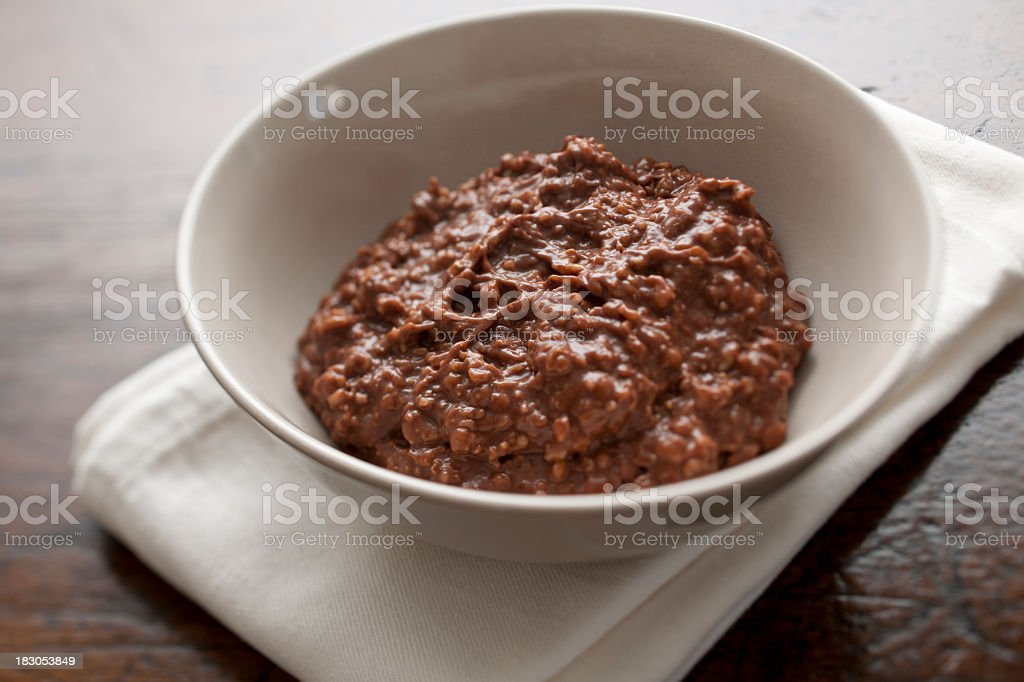 Chocolate flavoured oatmeal (porridge) stock photo