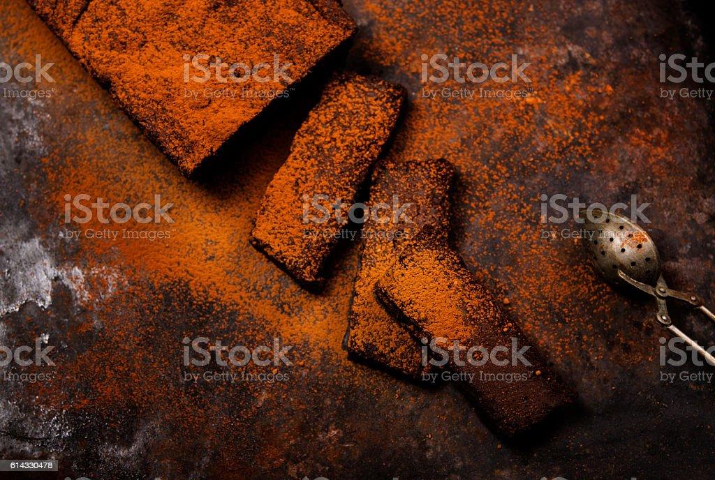 Chocolate flourless cake stock photo