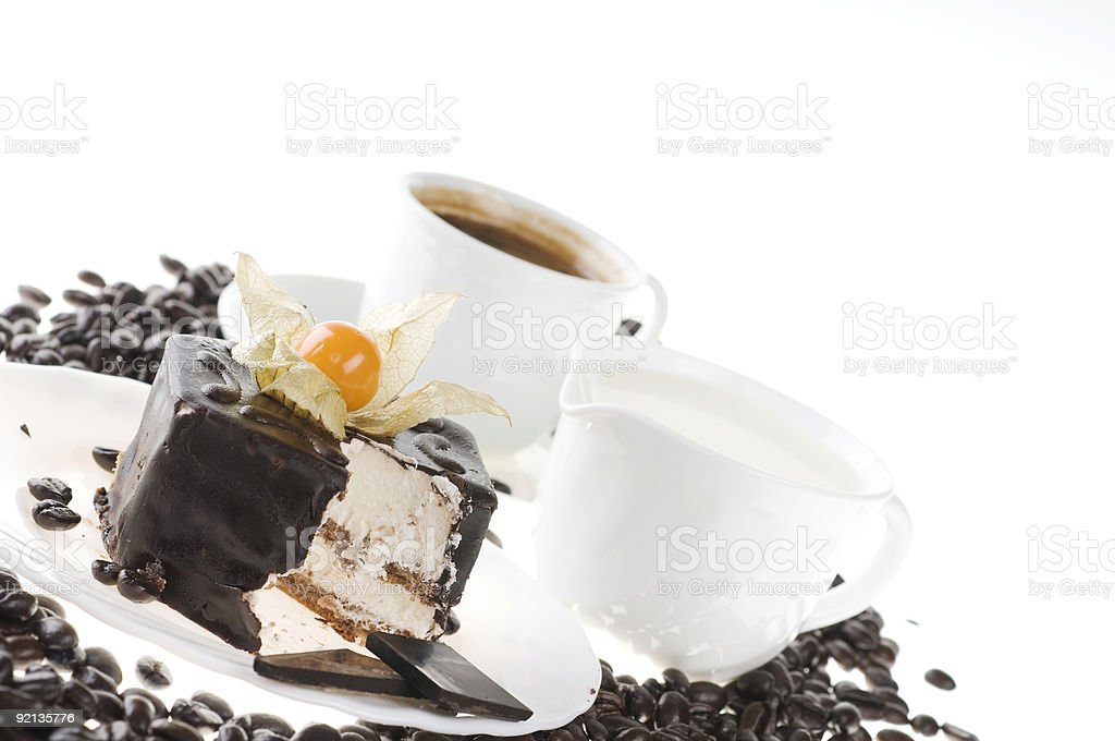 Chocolate food with coffee and milk royalty-free stock photo