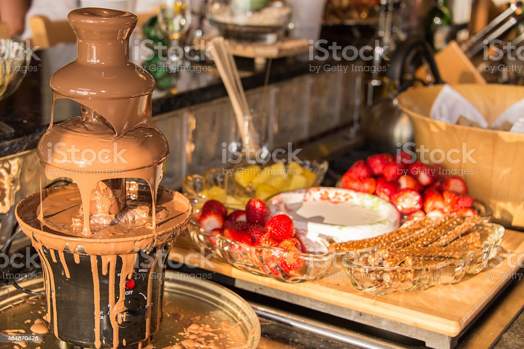Chocolate Fountain At Wedding Reception Stock Photo More Pictures