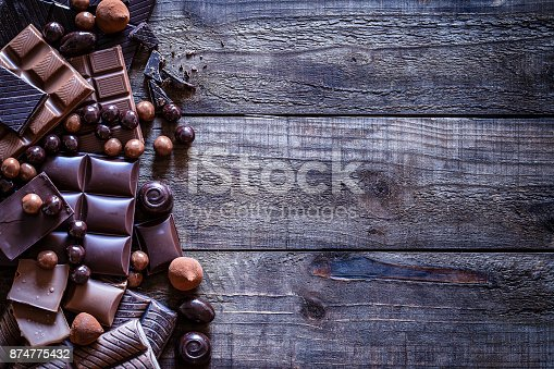 Top view of a large group of different chocolate bars, truffles and candies placed in a row at the left of an horizontal rustic wooden table making a border and leaving a useful copy space for text and/or logo. Predominant color is brown.