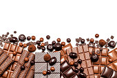 Top view of a large group of different chocolate bars, truffles and candies placed in a row at the bottom of an horizontal white background making a border and leaving a useful copy space for text and/or logo. Predominant colors are brown and white. High key DSRL studio photo taken with Canon EOS 5D Mk II and Canon EF 100mm f/2.8L Macro IS USM