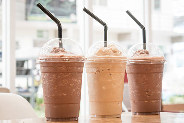 Chocolate Frappe and Frappuccino on wood table - Photo