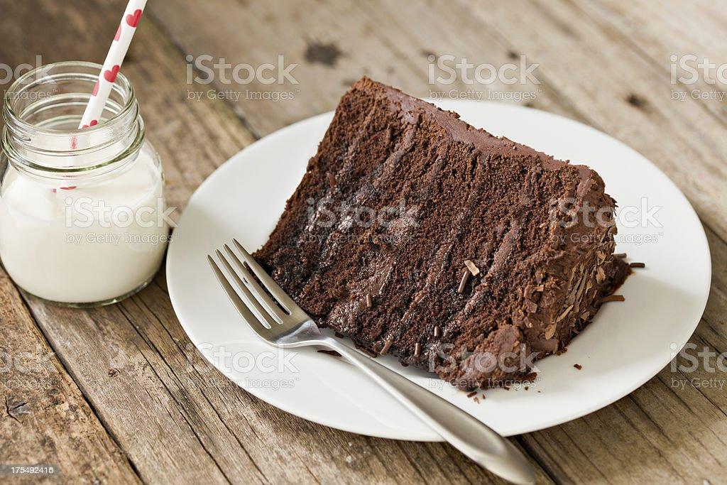 Chocolate Fudge Cake And Milk stock photo