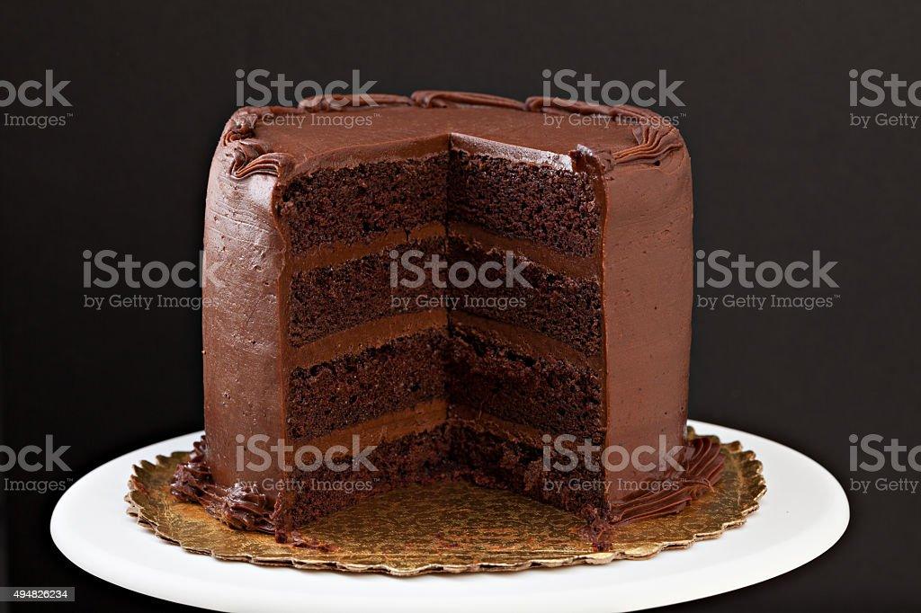 Fatia de bolo de Chocolate com faltando - foto de acervo