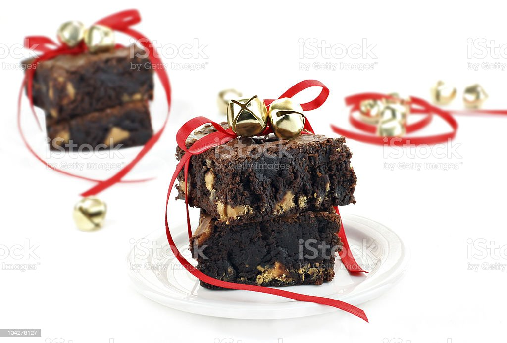 Chocolate Fudge Peanut Butter Brownies with Christmas Ribbons royalty-free stock photo