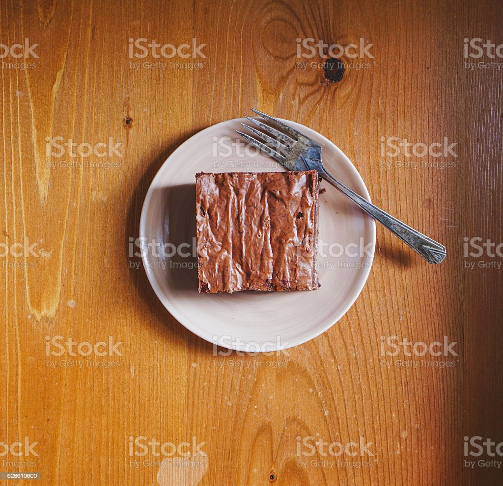 Chocolate Fudgy Brownie, top view. stock photo