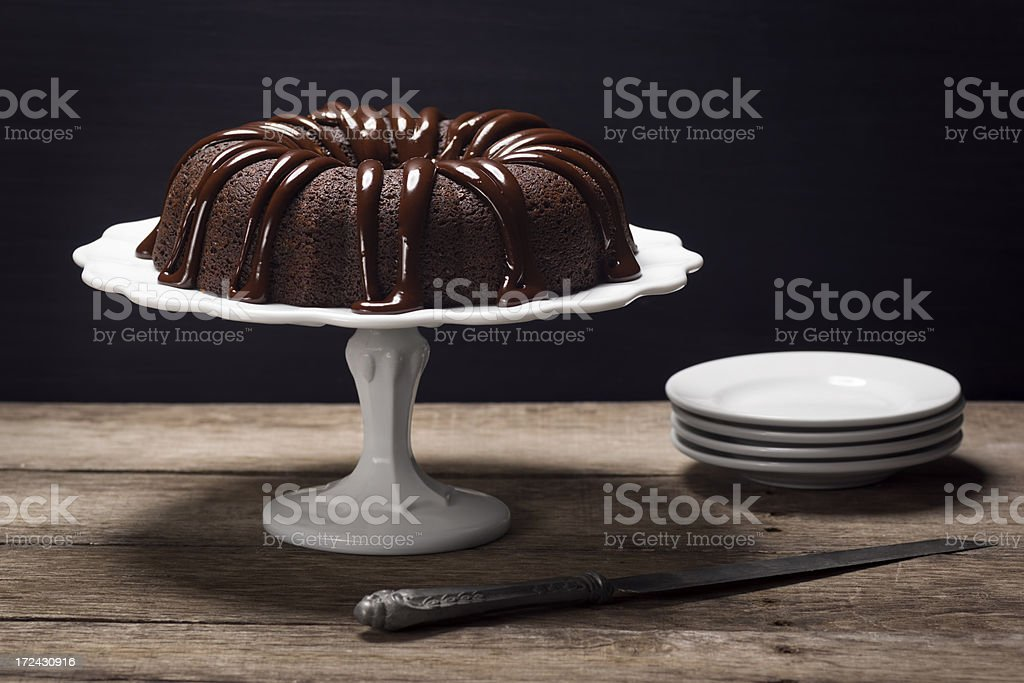Chocolate Ganache Bundt Cake stock photo