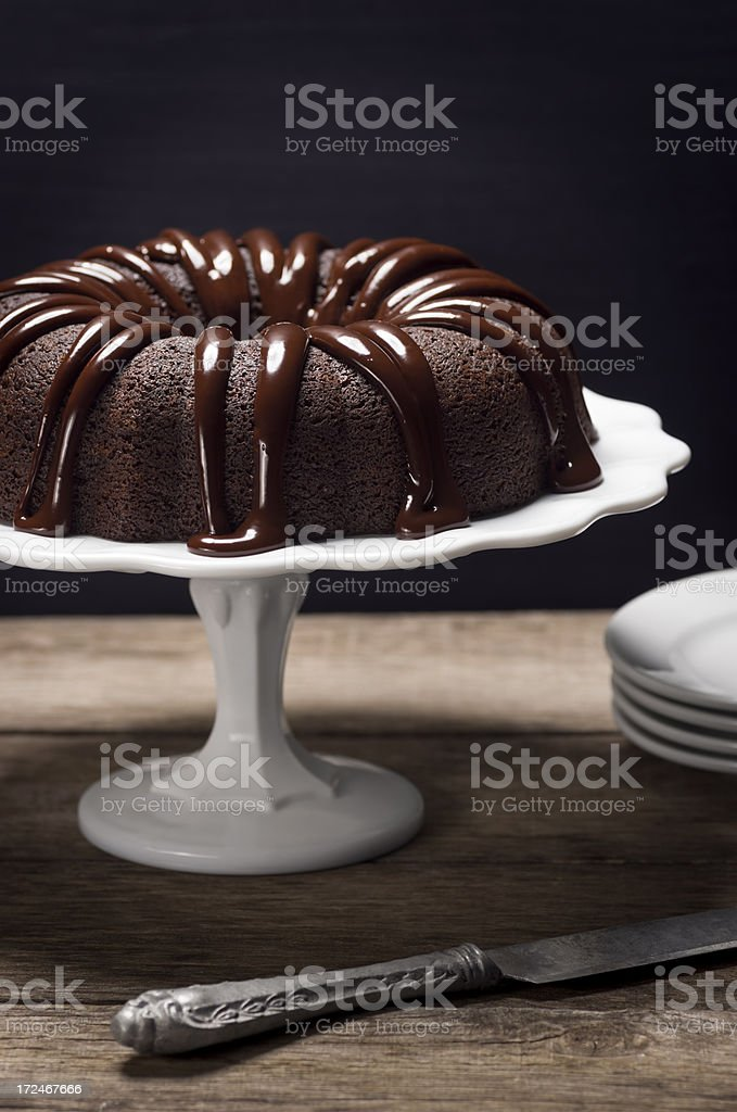 Chocolate Ganache Covered Bundt Cake stock photo