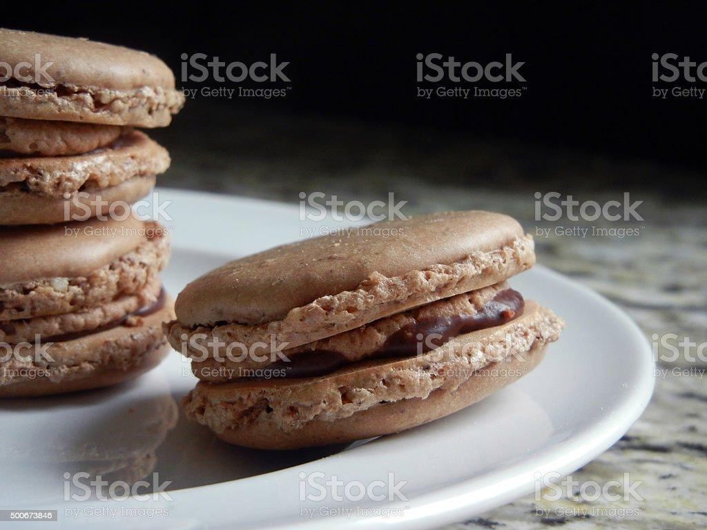 Chocolate Ganache Macarons stock photo