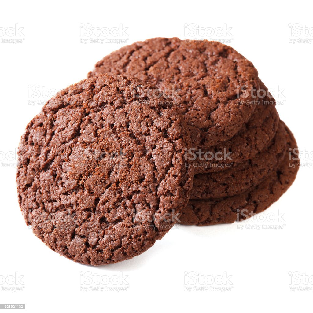 Chocolate ginger biscuits isolated on white close up. stock photo