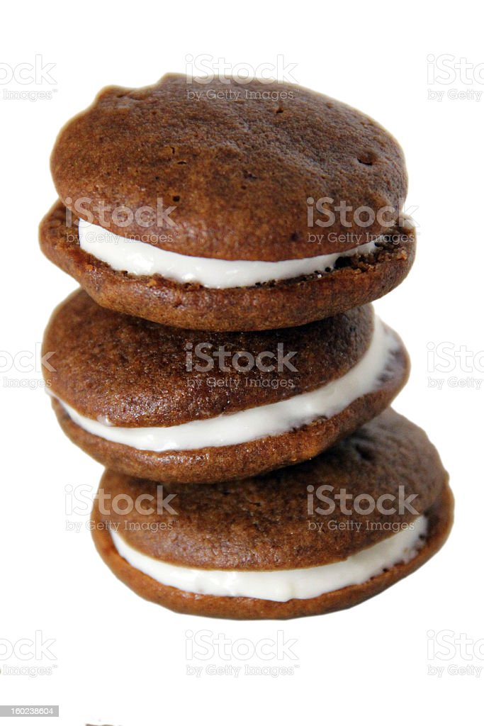 Chocolate Gingerbread Whoopie Pies on White stock photo