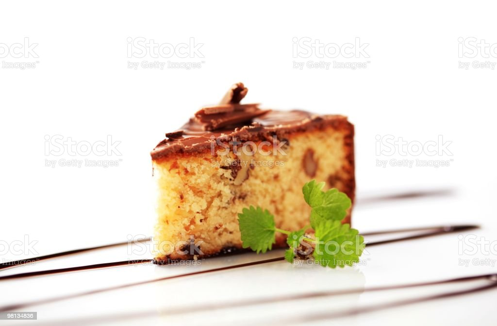 Chocolate glazed nut cake royalty-free stock photo