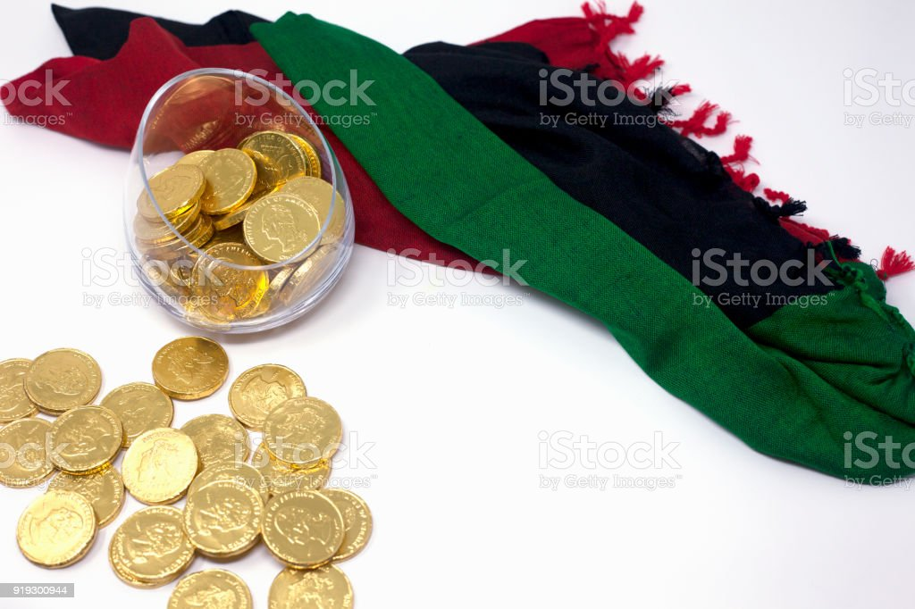 6010147001b Chocolate Gold Coins On White Background With Scarf Of Red Black And ...