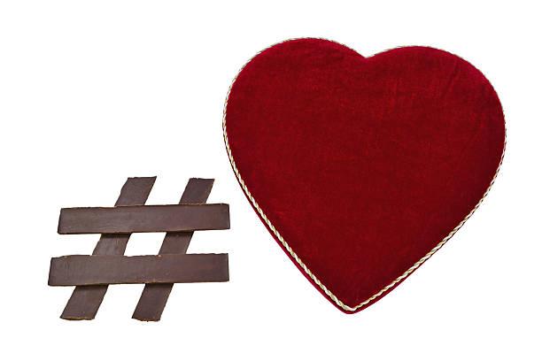 Chocolate Hashtag Symbol with Heart Shaped Box stock photo