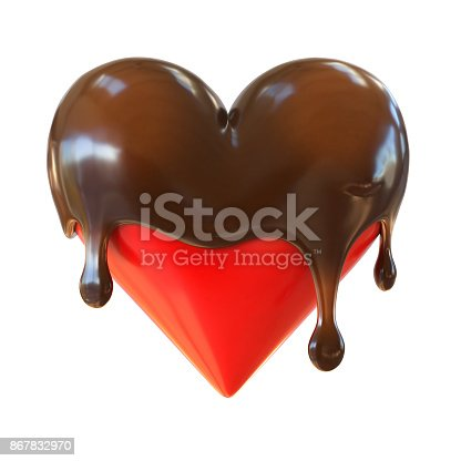 istock Chocolate heart melts 3d rendering 867832970
