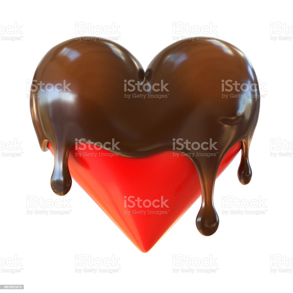 Coração de chocolate derrete renderização em 3d - foto de acervo