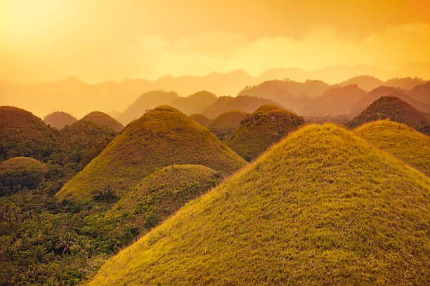 chocolate hills - philippines stock photos and pictures