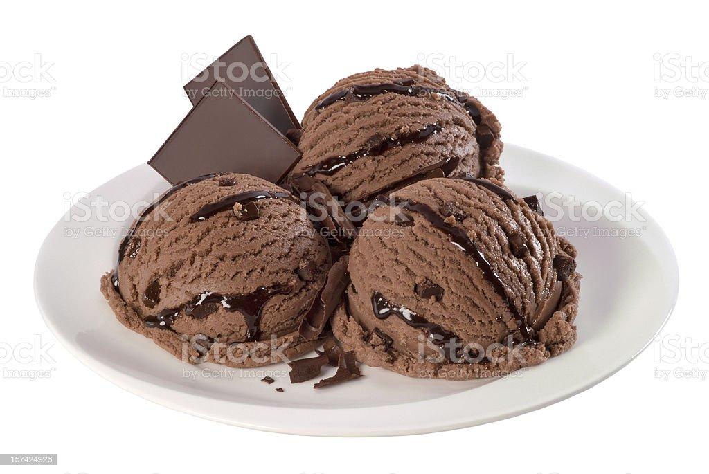 Chocolate ice cream balls [ clipping path] royalty-free stock photo