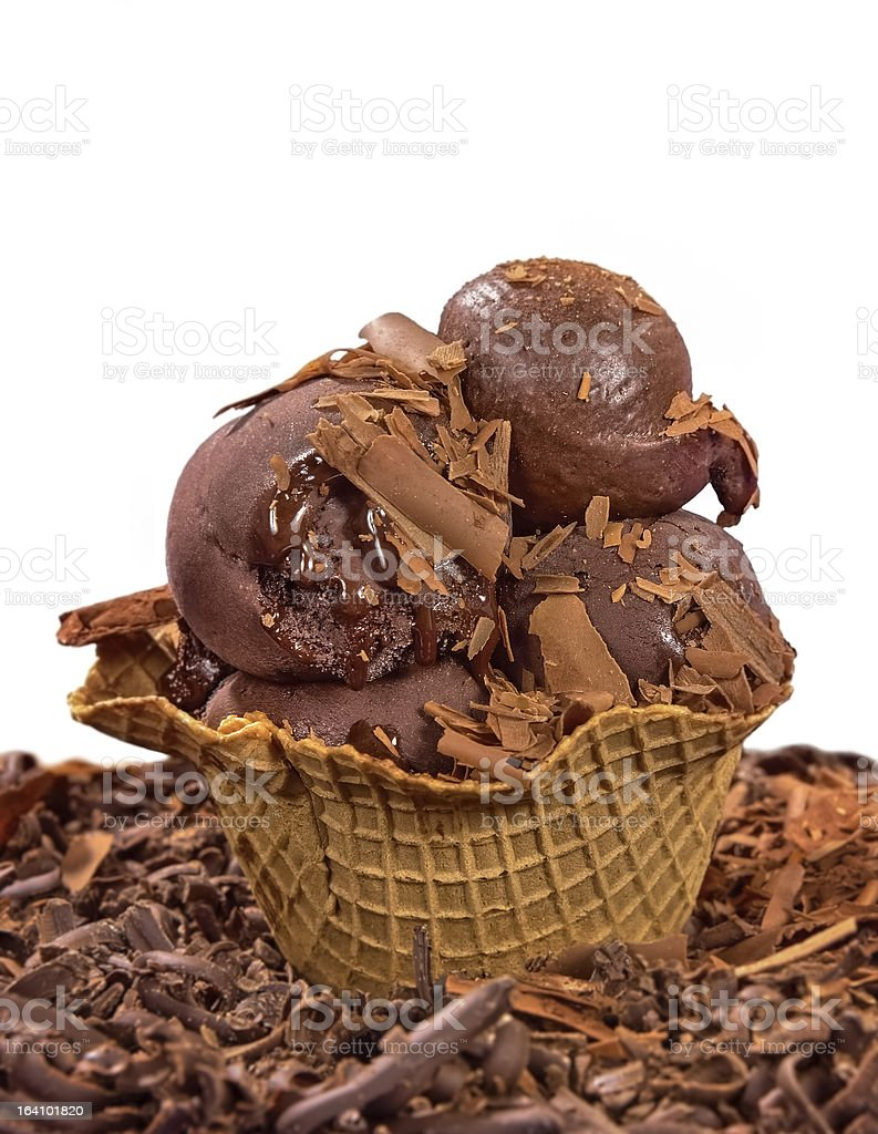 chocolate ice cream balls in big cone on white backgound royalty-free stock photo
