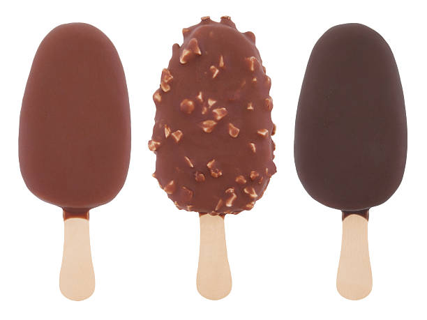 Chocolate Ice Cream Pops Chocolate Ice Cream Pops Collection isolated on white ice cream bar stock pictures, royalty-free photos & images
