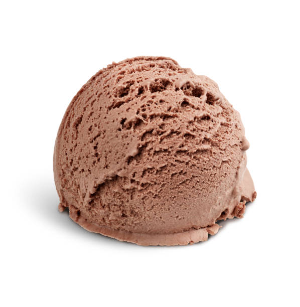 Chocolate ice cream scoop on white, clipping path stock photo