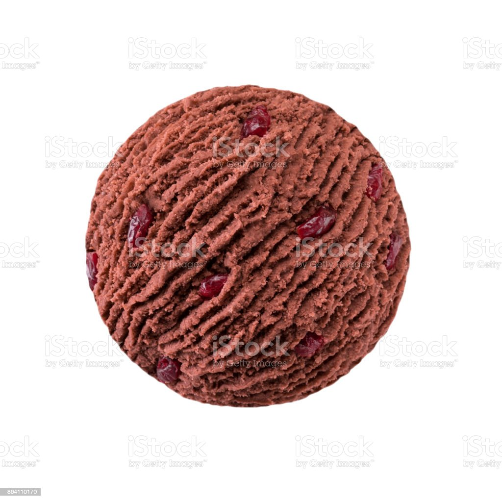 chocolate ice cream scoop with cranberry pieces royalty-free stock photo
