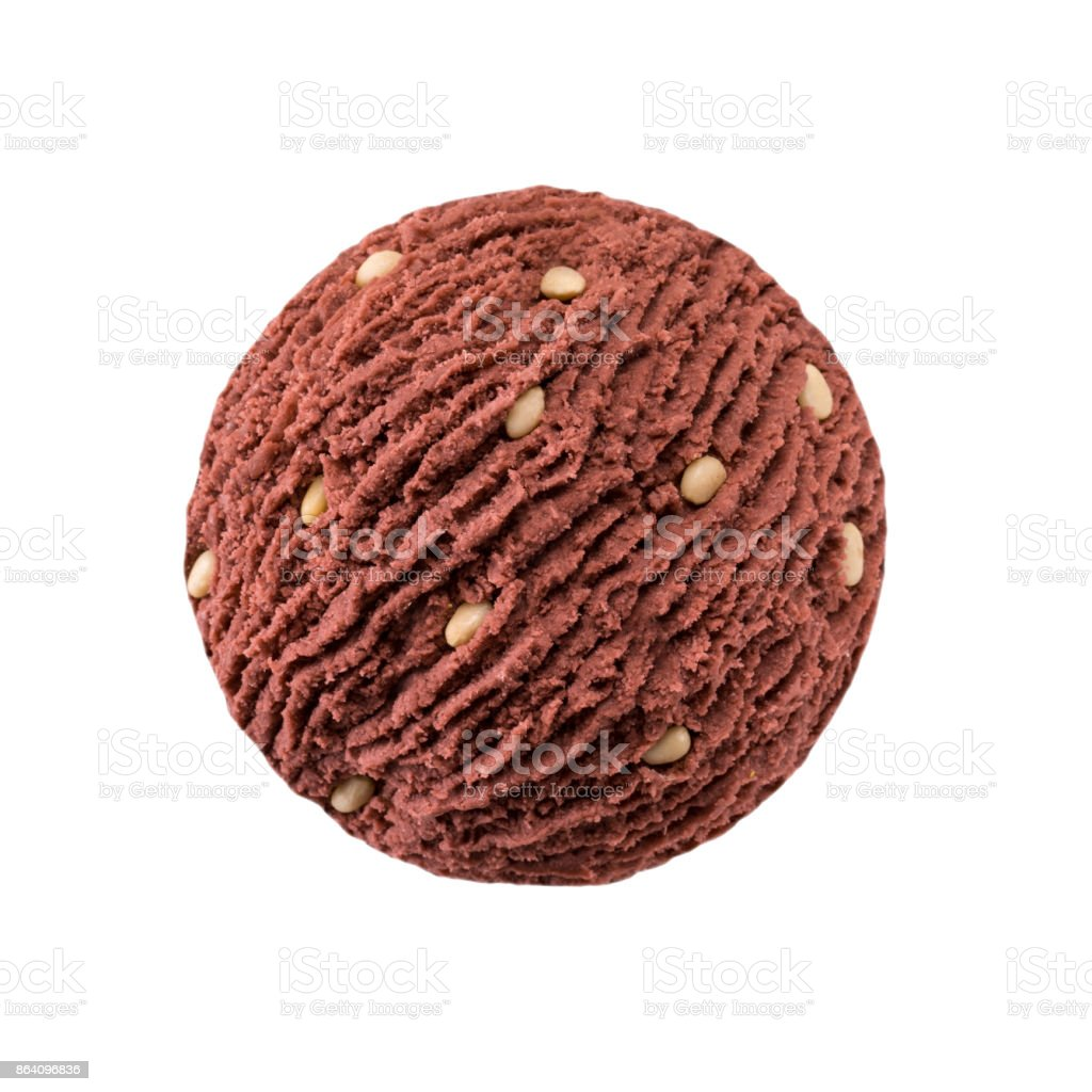 chocolate ice cream scoop with pine nut pieces royalty-free stock photo