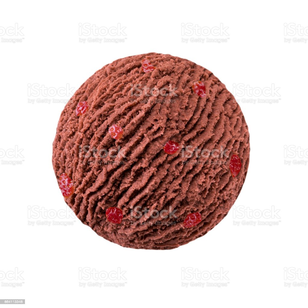 chocolate ice cream scoop with strawberry pieces royalty-free stock photo