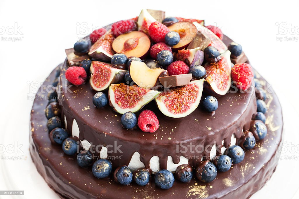 Chocolate Icing Cake Decorated With Fresh Fruit Stock ...