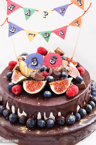 472311978 istock photo Chocolate icing cake, decorated with fresh fruit 524514185