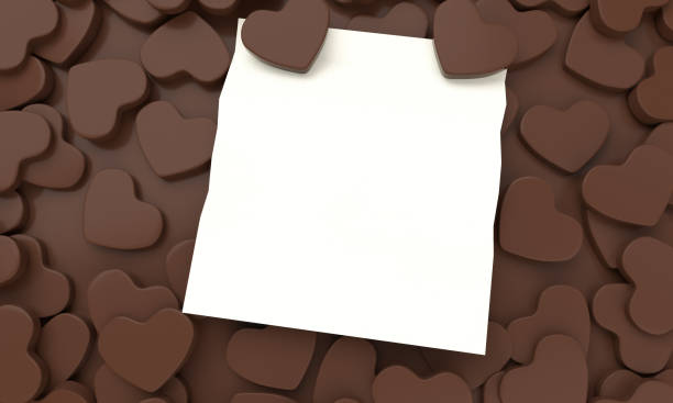 3D chocolate illustration heart on the clean colorful background stock photo