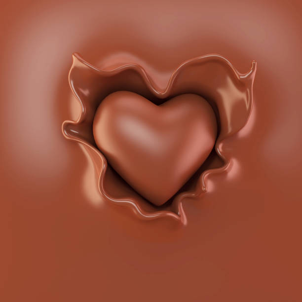 chocolate in the form of heart - chocolate swirl stock photos and pictures