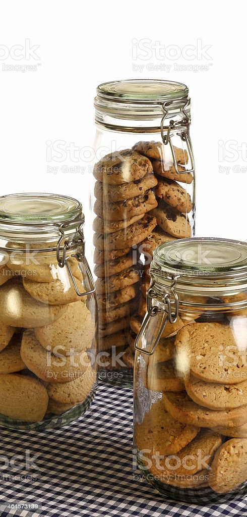 Chocolate, Lavender and Hazelnut cookies in jar royalty-free stock photo