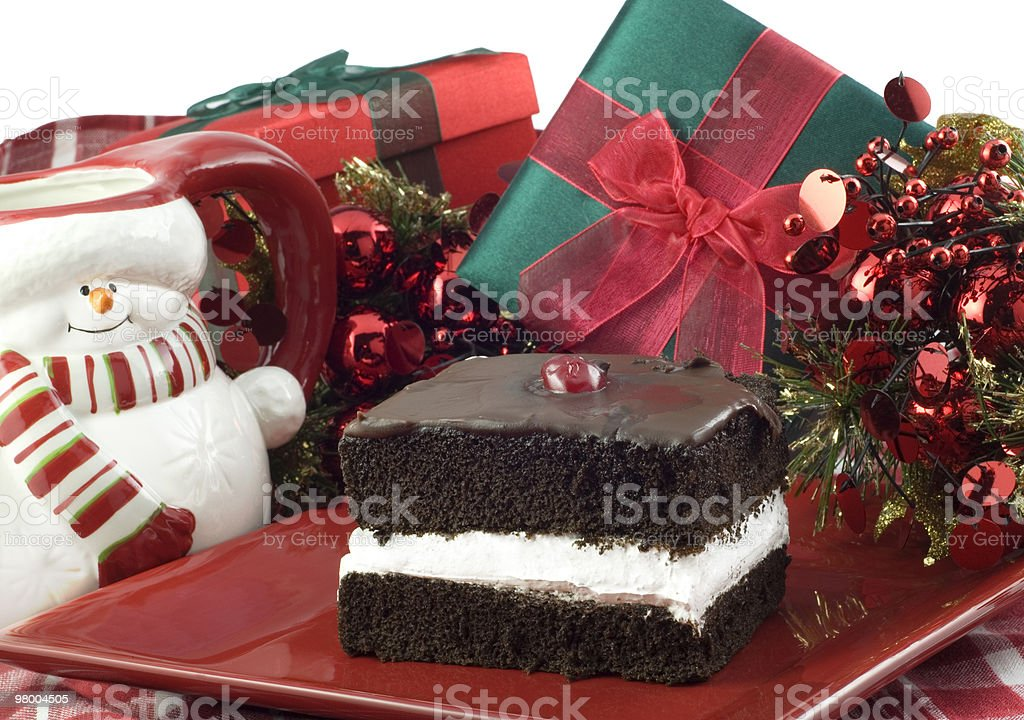 Chocolate Layer Cake with Christmas Decorations royalty free stockfoto