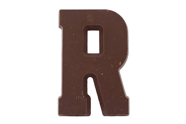 Chocolate letter R stock photo