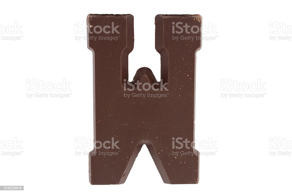Chocolate letter W stock photo