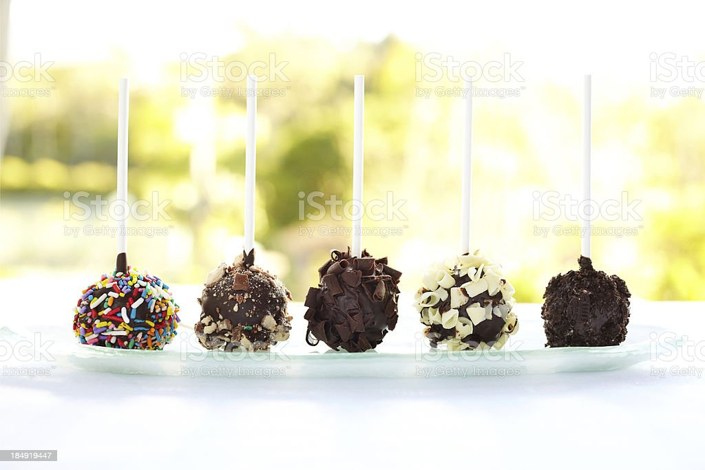 Chocolate lollipops on a tray isolated against nature background royalty-free stock photo