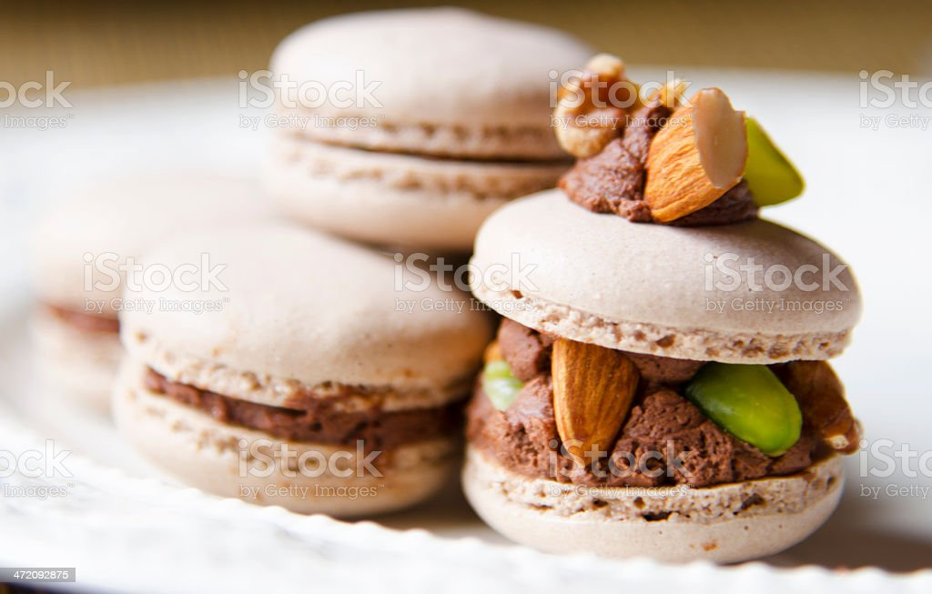 Chocolate macaroon cake stock photo