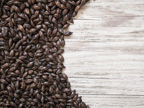 Chocolate malt on wooden background stock photo