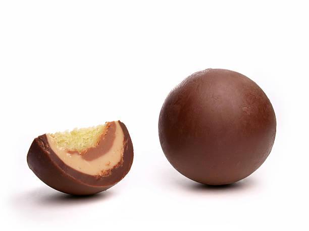 Chocolate marzipan balls stock photo